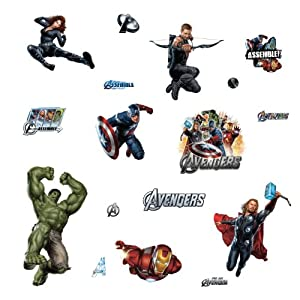 Roommates rmk1741scs avengers peel and stick for Avengers wall mural amazon