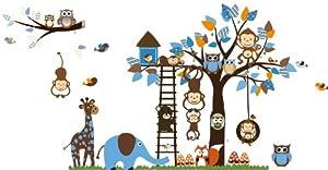 Bosque de monos de animal de la selva, la ardilla y el juego de columpio búho en hojas de colores Tree Vinilos decorativos etiqueta de la pared (L201) en BebeHogar.com