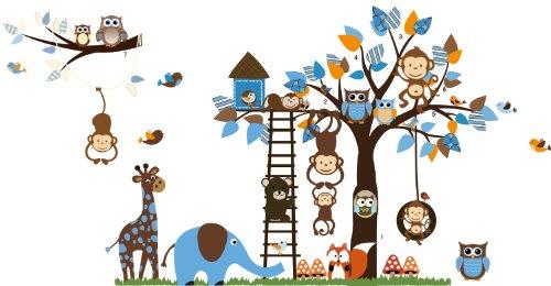 Jungle Zoo Meeting on a Tree Owl, Monkey Wall Decal for Kids, Nursery Room - 1