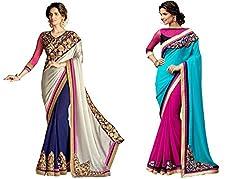 Pragya creations Women's Chiffon Saree (Prag27_Multi)-pack of 2