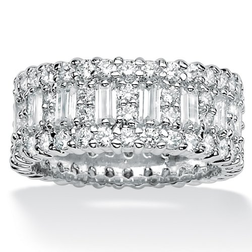 Lux Platinum over Sterling Cubic Zirconia Eternity Band Size 8