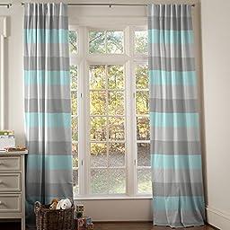 Carousel Designs Gray and Seafoam Wide Stripe Drape Panel 64-Inch Length Standard Lining 42-Inch Width