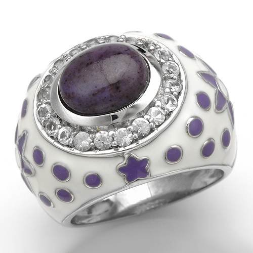 Cocktail Ring With 0.55ctw Precious Stones - Genuine Jade and Topazes Beautifully Crafted in Two tone Enamel and 925 Sterling silver. Total item weight 12.6g (Size 10)