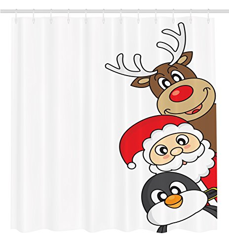 ambesonne-christmas-decorations-collection-santa-claus-reindeer-and-penguin-cartoon-characters-cheer