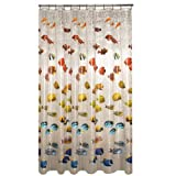 Maytex Mills New School Fish PEVA Vinyl Shower Curtain, Clear