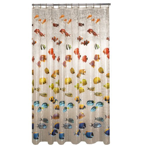 New School Fish Vinyl Shower Curtain, Clear