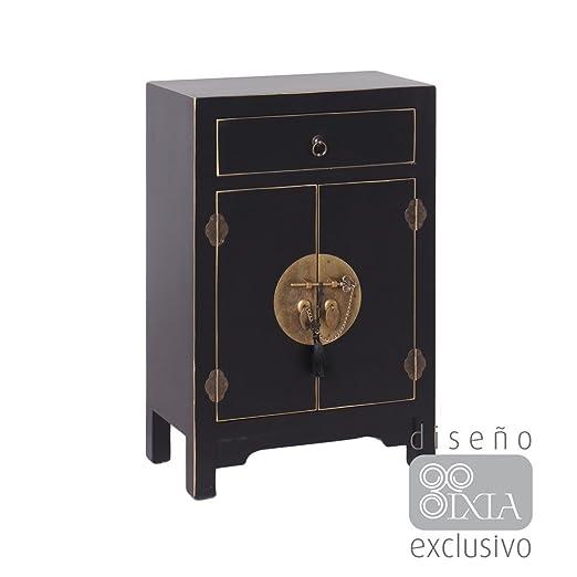 AXIDECOR - Mueble Auxiliar - Mesita ORIENTE Negro 2 Puertas 1 Cajón - iBERGADA