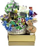 Bunny Hop Elegant Easter Gift Basket with Keepsake Planter
