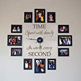 GECKOO® Time Spent with Family Is Worth Every Second - Family Lettering Vinyl Wall Decal - Without Clock and Picture Frame (Dark Brown, Medium)