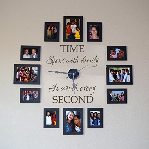 MairGwall?Time Spent with Family Is Worth Every Second - Family Lettering Vinyl Wall Decal - Without Clock and Picture Frame (Dark Brown, Medium) (Clock Frame compare prices)