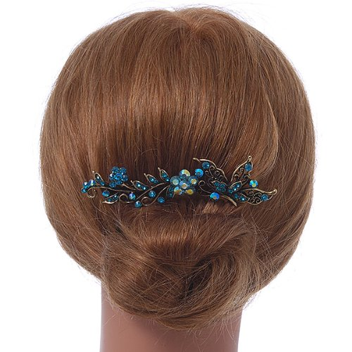 Vintage Inspired Teal Blue Swarovski Crystal 'Flower & Butterfly' Side Hair Comb In Antique Gold Tone - 115mm 1