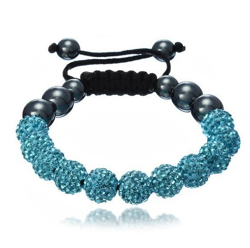 Shamballa Bracelet Turquoise Blue (NO STRINGS) Disco Ball Friendship Bead Unisex Bracelets Swarovski Crystal Beads