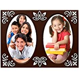 Table Top Designer Photo Frame Brown( 2 Photos Of 3.5x4.5 Inch)