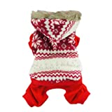 Fashion Snowflake Winter Dog Coat for Pet Dog Hoodie Clothes, Red, Medium