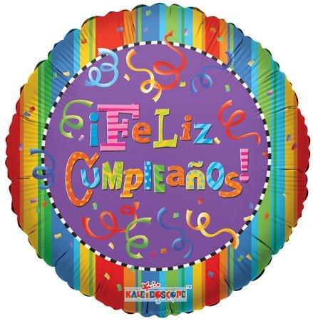 "CONVER USA Feliz Cumpleanos Festive Packaged Balloon, 18"""