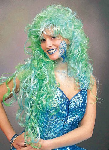 Damen Perücke Nixe zum Meerjungfrau Kostüm an Karneval Fasching