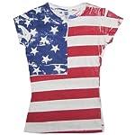 Flag FR200 - Frank Allover Junior Cut Ladies American Flag T-Shirt - X-Large
