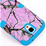 myLife (TM) Sky Blue - Light Pink Tree Camouflage Design (3 Piece Hybrid) Hard and Soft Case for the Samsung Galaxy... by myLife Brand Products