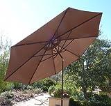9' Brown Aluminum Patio Market Umbrella Tilt With Crank