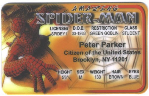 Spidey Spider-man Fun Fake ID License - 1