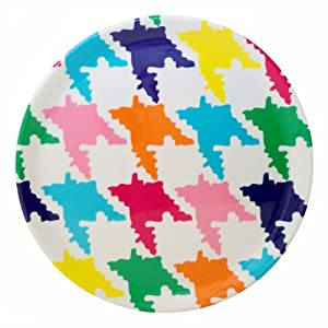 Tango Home Muticolor Houndstooth 10-Inch Bamboolamine Plate, Set of 4