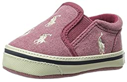 Ralph Lauren Layette Bal Harbour Repeat Slip On (Infant/Toddler), Red Pumice Canvas, 0 M US Infant