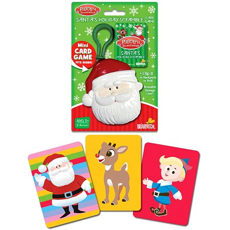 """Santa Holiday Scramble"" Rudolph the Red Nosed Reindeer Mini Games with Backpack Clip On!"
