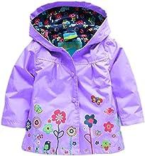 Baby Girl Todder Hooded Coat Flower Rain Jacket