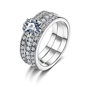 Forcolor White Gold Plated Three-Row SWAROVSKI ELEMENTS Crystal Round Cut Ring