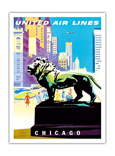 chicago-etats-unis-statue-bronze-lion-institute-dart-a-chicago-united-air-lines-vintage-airline-trav