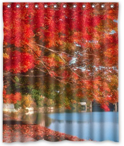 Standard-Store Custom Fallen Red Maple Waterproof Fabric Polyester Shower Curtain 60