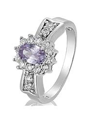 Women Jewelry Purple Tanzanite Round Cut Plated White Gold Lady Ring 6 M