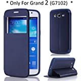 Arbalest® Galaxy Grand 2 Case, View Window Flip Cover PU Cuir Coque Etui pour Samsung Galaxy Grand 2 II G7102 G7105 G7106 Smartphone Bleu Foncé