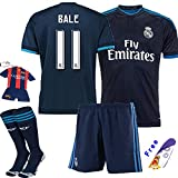 Barcelona Kids Jersey 2015/2016 #11 Bale Away Blue Soccer Kit Real Madrid football Jersey & Shorts & Socks & key chain kids boys youth (9-10 years )