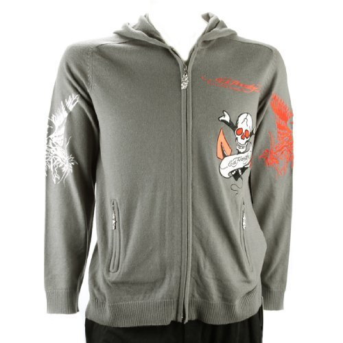 Ed Hardy Mens Love Kills Slowly Hoodie - Grey - Medium