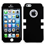 myLife (TM) White and Black - Colorful Robot Series (Neo Hypergrip Flex Gel) 3 Piece Case for iPhone 5/5S (5G) 5th Generation iTouch Smartphone by Apple (External 2 Piece Fitted On Hard Rubberized Plates + Internal Soft Silicone Easy Grip Bumper Gel)