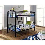 Thick Tube Black Metal Twin Over Twin Bunk Bed