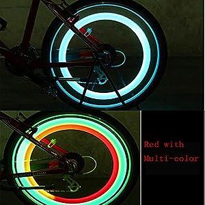 4 Pack Double Faced Bicycle Spoke Light Wind Fire Wheels Silica Gel Spoke Light Steel Wire Lamp Mountain Bike Wheel Light - Red,Blue,Green and Multi-C