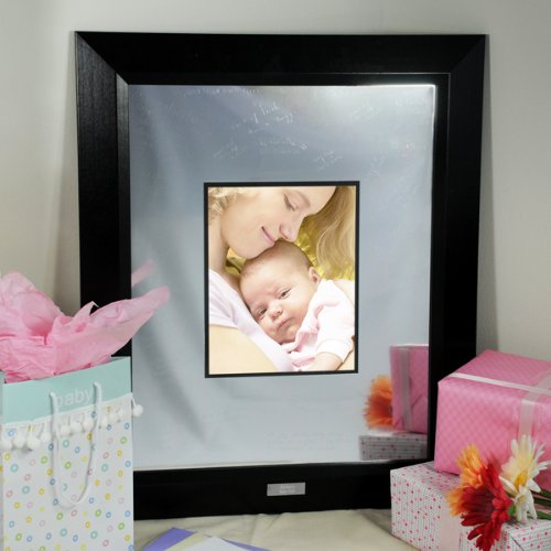 Personalized Baby's Signature Picture Frame with Engraved Photo Mat (Black) (32.5