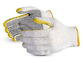 Superior SCPDRT Sure-Grip Cotton/Polyester String Knit Glove with PVC Dotted Palm, Reinforced Tips and Thumb, Work, 7 Gauge Thickness, Medium (Pack of 1 Dozen)