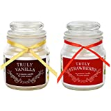Khatte Meethe Desires Aroma Truly Vanilla And Strawberry Scented Candles For Home Decorations (Set Of 2)