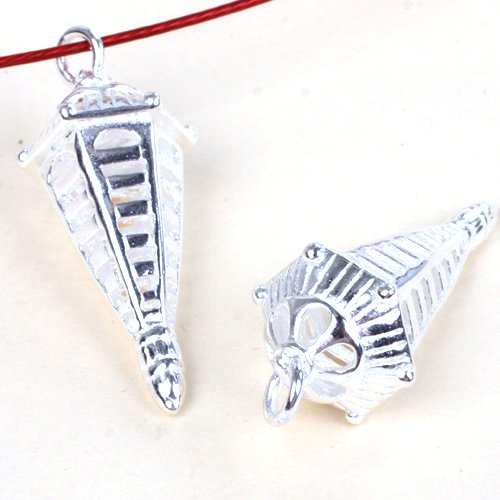Gem-Inside Gsp0150 5Pcs Buddhist Tibetan Silver Amulet Jewelry Making Spacer Beads Charms Pendant 12X36Mm