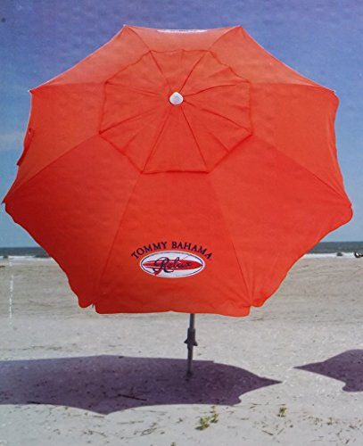 Tommy Bahama 2015 Sand Anchor 7 feet Beach Umbrella with Tilt and Telescoping Pole- red