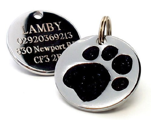 25mm Glitter Black Paw Print Dog Pet ID Tag Disc Engraved