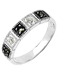 1.90 Grams Marcasite & White Cubic Zircon .925 Sterling Silver Ring - B00KTAZDNK