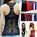Womens Sexy Shirt Top Hollow-out Vest Camisole Lacey Cami Tank Crochet (Black)
