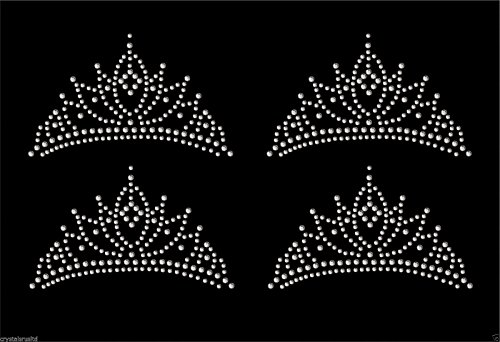 Clear 4x Tiara Crown Iron On Rhinestone Transfer Crystal Hotflix T-shirt applique (Rhinestone Applique Iron On compare prices)
