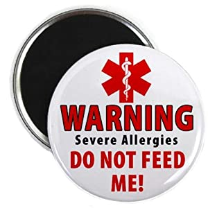 WARNING Severe Allergies DO NOT FEED ME Medical Alert 2.25 inch Fridge Magnet by Creative Clam