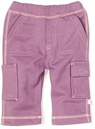 Babysoy Baby Girls\' Soft Cargo Pants, Eggplant, 12-18