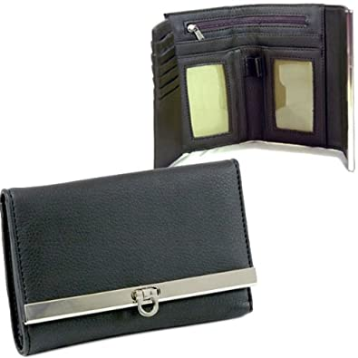 Dasein Women's Tri-fold Flip Clasp Plain Leather Checkbook Wallet Purse -Black